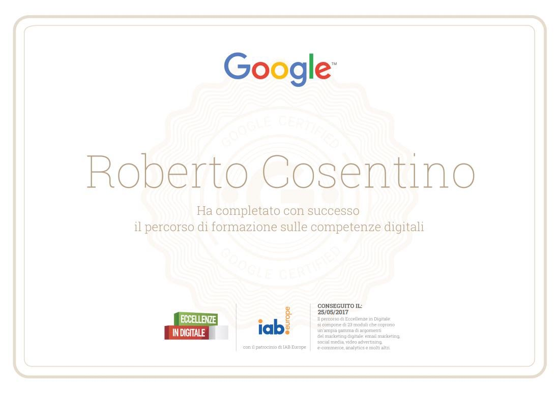 Google E Eccellenze In Digitale Conseguito Il Certificato Di